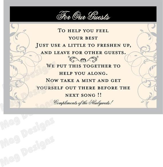 Private Listing for idoadriennesnow Wedding Reception Bathroom Guest Basket Flat Signs
