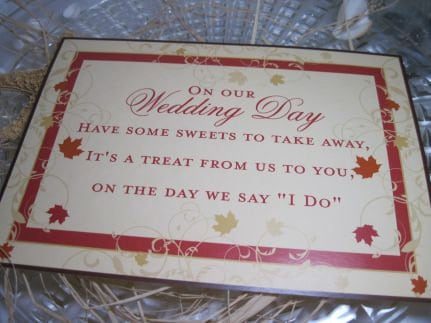 Fall Wedding Reception Candy Buffet Or Candy Bar Sign For