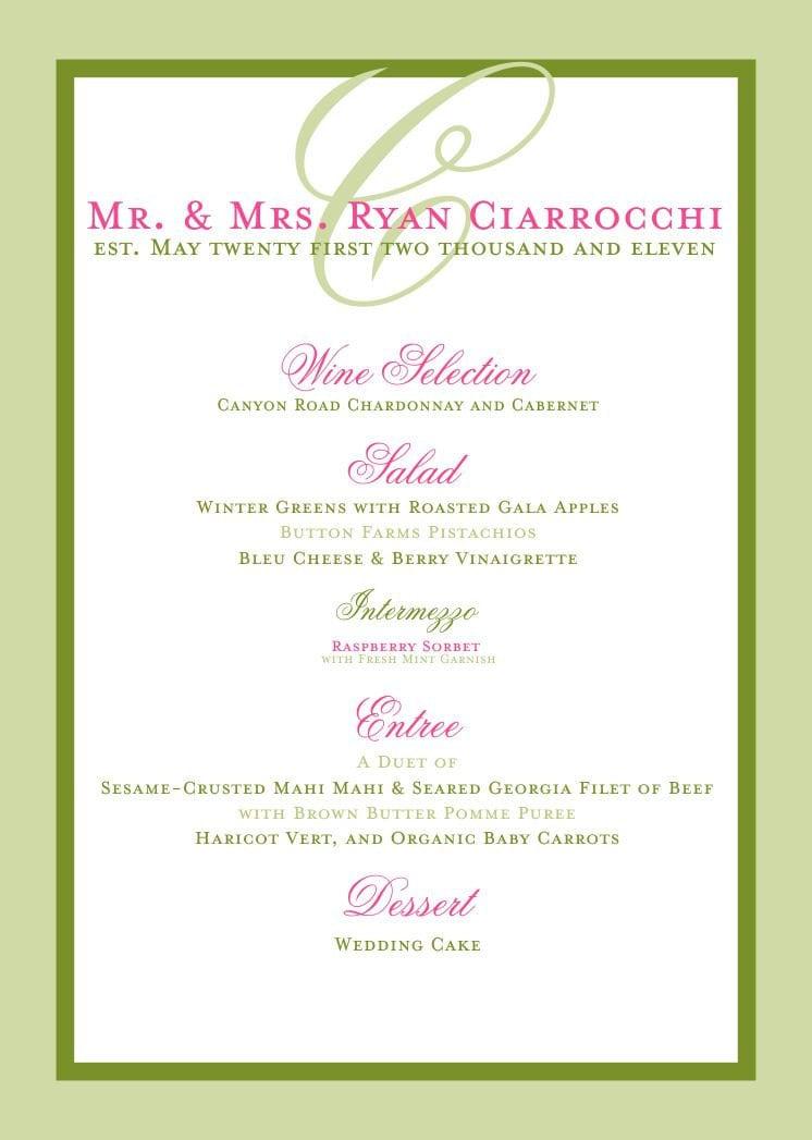 Beach Wedding Reception Menu Elegant And Simple For Bridal