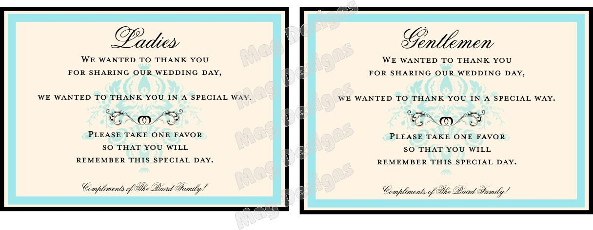 Customizable wedding reception bathroom guest basket sign in