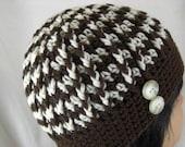 Brown and Cream Zig Zag Crocheted Hat