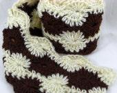 Chocolate Cream Swirl Crochet Scarf