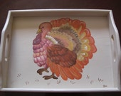 Hand Painted Thanksgiving Turkey Wooden Serving Tray