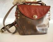 Vintage Brown Leather Monogrammed Texier Handbag