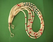 Five Strands of Luminous Freshwater Pearls with Green Turquoise and Red Coral