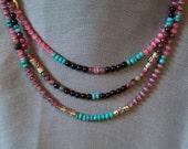 A Princess Necklace Three Strands of Color and Joy