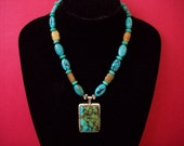 Signed Spider Web Turquoise Pendant Strung in Traditional Style with Turquoise and Carved Jade