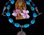 Carved Marble OM Pendant w/ Beautiful Graduated Turquoise Stones