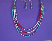 Beautifully Colorful Three Strand Necklace w/ Earrings