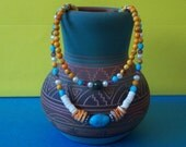 Colors in Shell and Stone-Two Strand Necklace