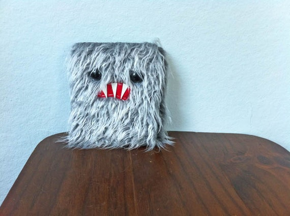 Large Shaggy Gray Monster Travel Wallet