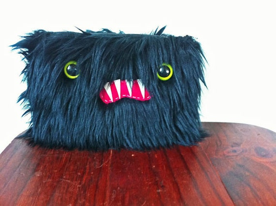 Large Black Monster Pouch- Green Eyes