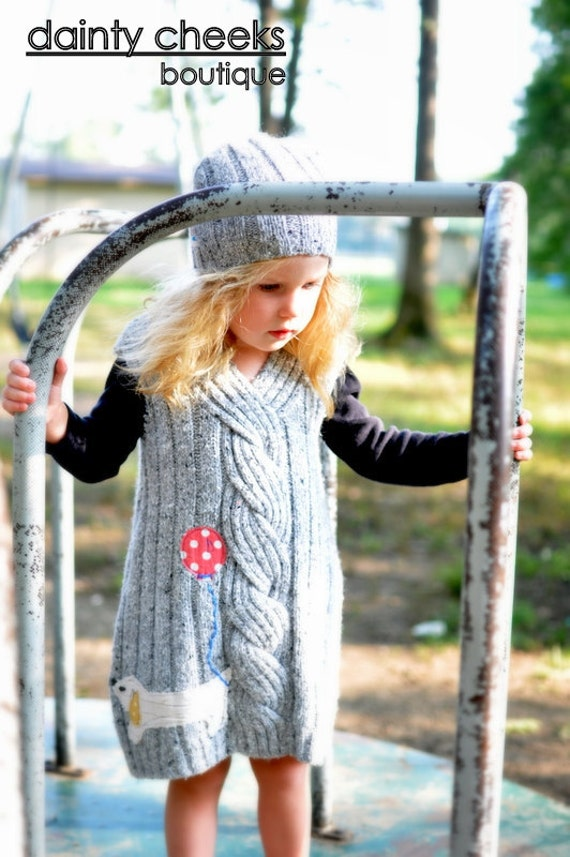 Grey Large Cable knit upcycled sweater dress- polka dot dog w/ balloon