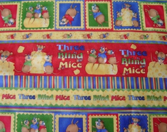 1 Yard Cotton Fabric  Three Blind Mice, Designer Debbie Mumm, SALE