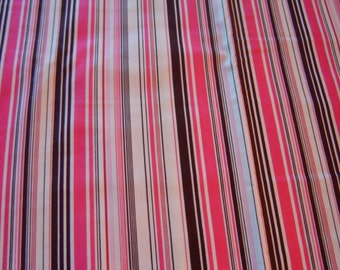 1 Yard of Cotton Fabric Pink and Brown Stripe, SALE