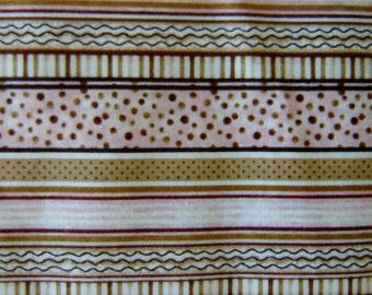 1 Yard 100% Cotton Fabric  Pink Brown Stripes   Clearance