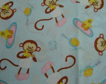 1 Yard Cotton Fabric Monkey Bath Time Lt Blue Background   Clearance