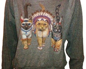 """Three Native Kitty Cats Pullover Slouchy """"Sweatshirt""""  Top American Apparel Gray L"""
