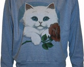 "KItty Cat Holding a Rose Pullover Slouchy ""Sweatshirt""  Top American Apparel Blue L"