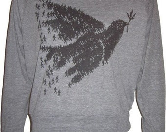 Peace Bird Dove Original Art Print Ladies Raglan Pullover Slouchy Sweatshirt American Apparel S  M or L