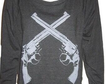 Revolver Guns Slouchy Ladies Tri-Black Raglan Pullover Top Sweatshirt American Apparel  S M or L