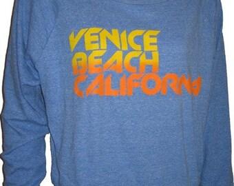 VENICE BEACH CALIFORNIA Ladies Raglan Light Blue Pullover Top Sweatshirt American Apparel S M or L