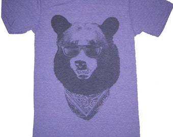 California Gangster Bear with Sunglasses T-Shirt American Apparel Tri-Blend Purple     S M    L or XL