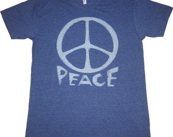 Vintage Peace Sign Art Print T-shirt American Apparel Tri-Blend Men's size L