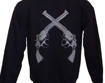 Men's Revolver Guns Sweatshirt Black  S  M  or XL