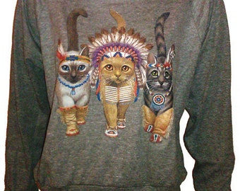 "Three Native Kitty Cats Pullover Slouchy ""Sweatshirt""  Top American Apparel Gray  S  M  or  L"
