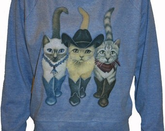 "Cats in Cowboy Boots Pullover Blue Slouchy ""Sweatshirt""  Top American Made S  M  or   L"