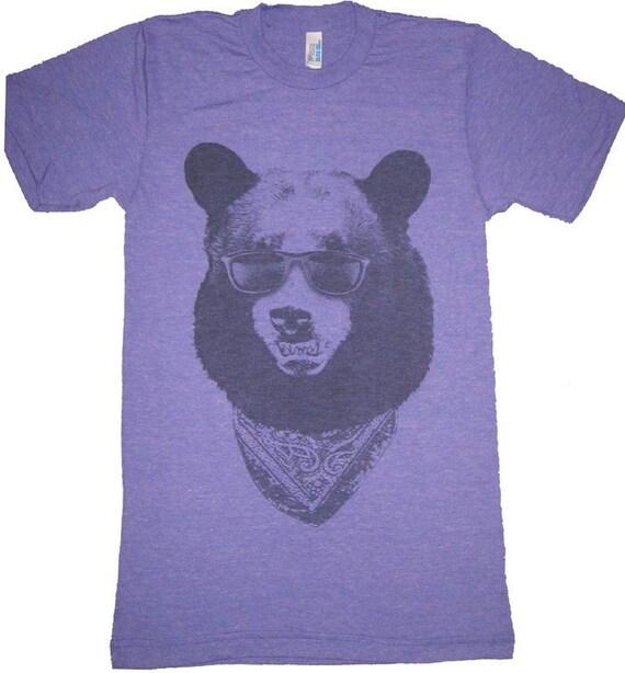 California Gangster Bear with Sunglasses T-Shirt American Apparel Tri-Blend Purple Mens S