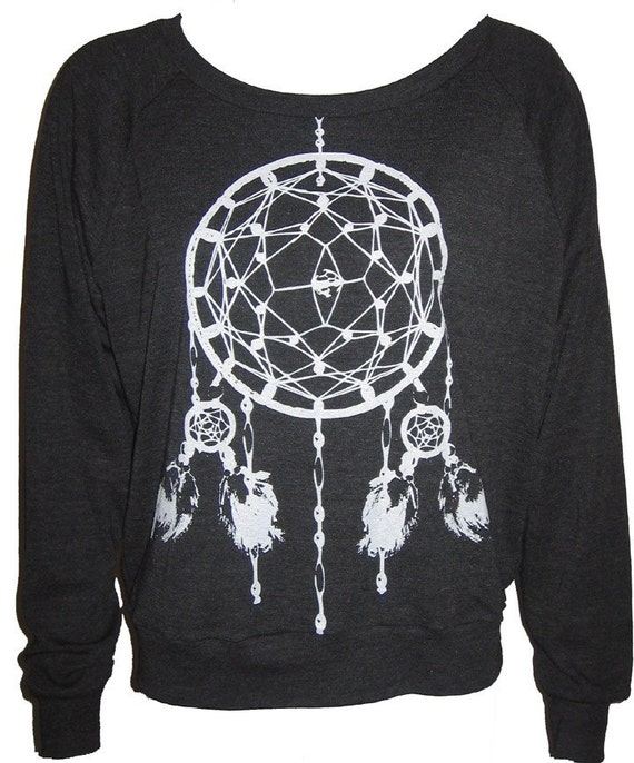 Ladies Raglan Tri-Black Pullover Top Sweatshirt American Apparel Dreamcatcher Art Print M