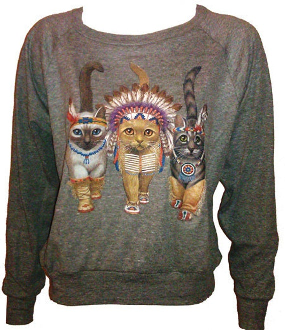 "Three Native Kitty Cats Pullover Slouchy ""Sweatshirt""  Top American Apparel Gray M"