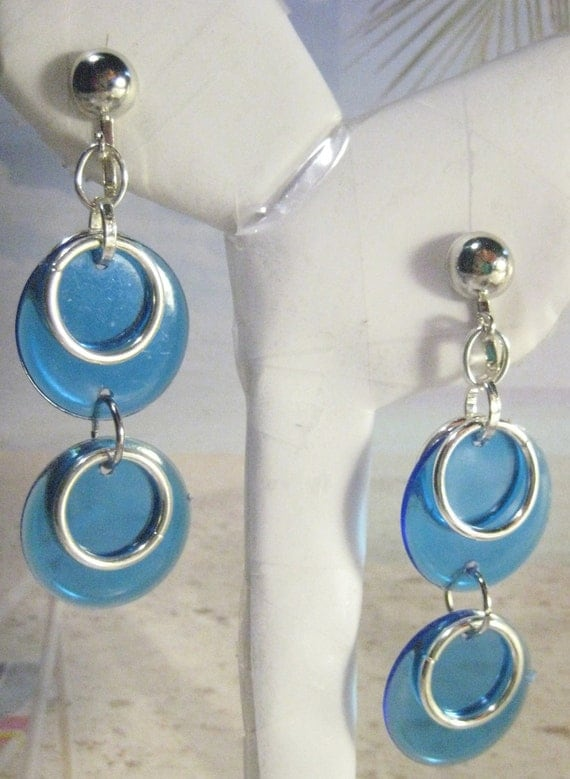 Retro 70's Royal Blue Resin Disco Bingo Chips with Silver Plated Hoops Clip On Earrings