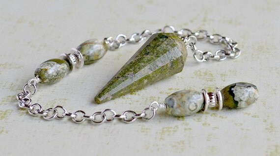 "Green Jasper and Rhyolite Pendulum ""Swamp Thing"" - Samhain Series"