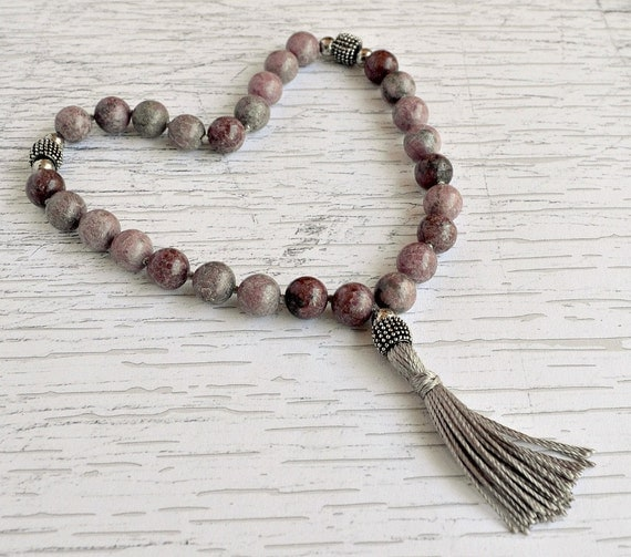 Rhodonite Prayer Beads, Witch's Beads