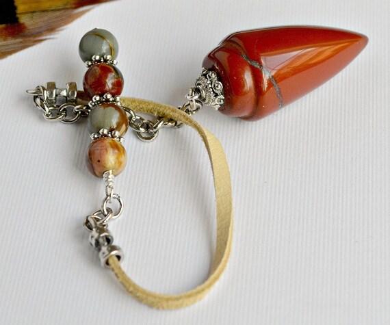 Pendulum - Red Jasper and Silver Leaf Jasper  - Native Series