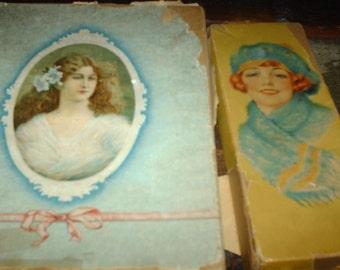 2 antique linen boxes