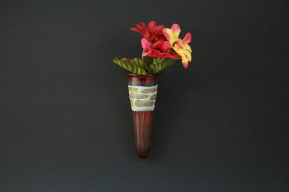 Glass Wall Vase Wall Pocket Window Vase Handblown Lampwork Boro