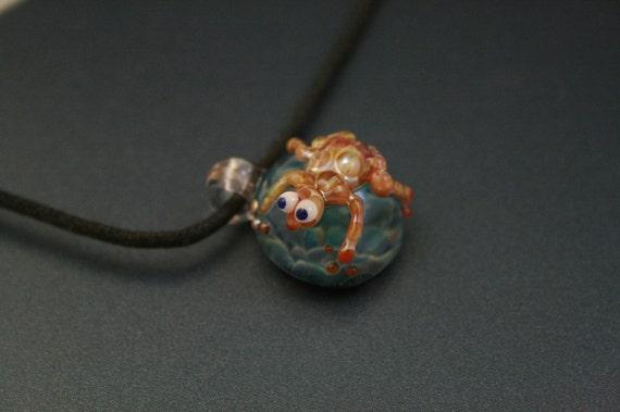 Handblown Glass Frog Pendant Lampwork Boro Pendant Focal Bead