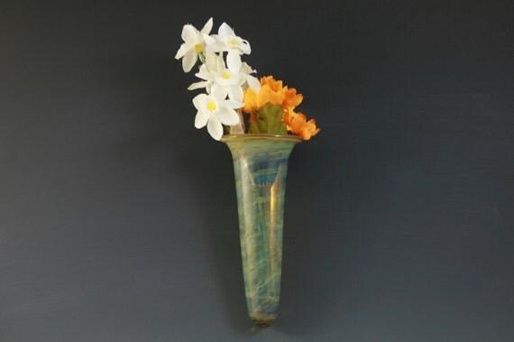Wall Pocket Glass Wall Vase Window Vase Lampwork Handblown Boro