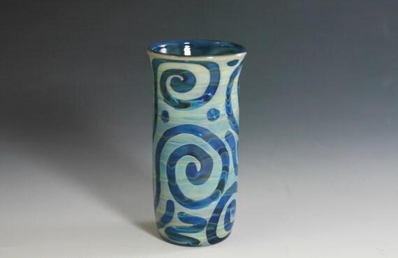Shot Glass Lampwork Handblown Flower Vase Silver Fume