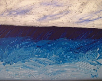 Abstract Seascape Impasto Original Painting Peaceful Seaside Vacation 16x20, Free Shipping