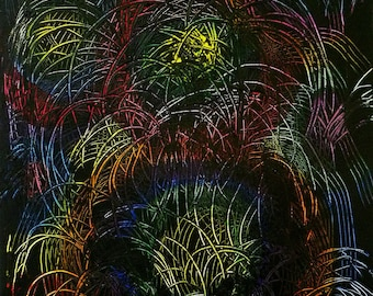Abstract Original Painting Colorful Fireworks Modern Contemporary Art,16x20, Free Shipping