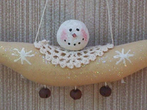 Angel fabric snowman ornament