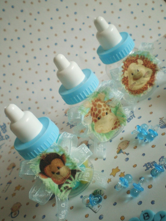 Jungle Safari Baby Boy Blue Bottle Favors