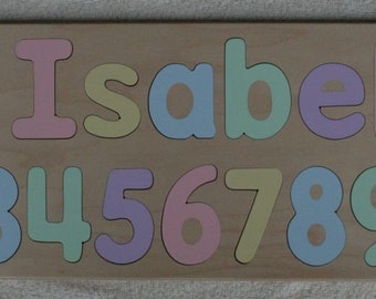 Name Puzzle - Raised Letter Option - with Numbers - Wonderful Birthday Gift - Kids Wood Puzzle Toy