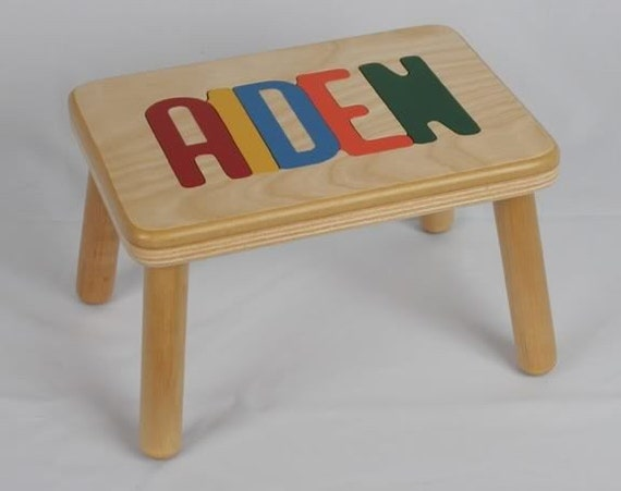 Name Puzzle Step Stool Bench Wooden Handcrafted And