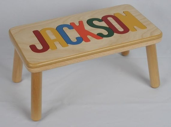 Name Puzzle Step Stool / Bench -  Handcrafted Wooden and Custom Personalized up to 8 letters.